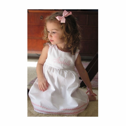 Garden Princess Pique Rick Rack Dress in White with Light Pink Trim