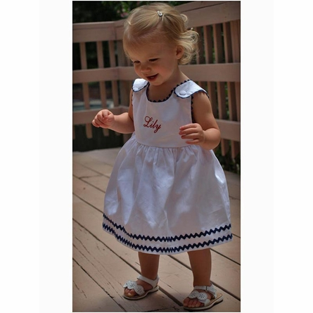Garden Princess Pique Rick Rack Dress in White with Navy Trim