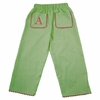Garden Princess Pique Rick Rack Pants in Green with Hot Pink Trim