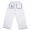 Garden Princess Pique Rick Rack Pants in White with Navy Trim