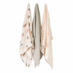 Garden Rose Cotton Muslin Swaddle Blanket - Set of 3