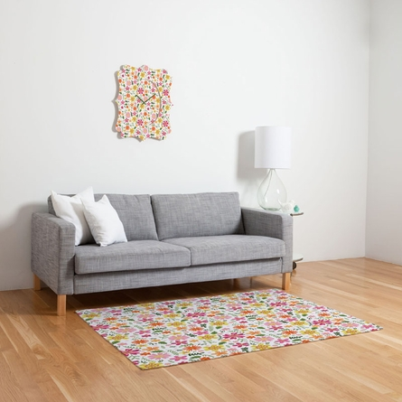 Genevieve Florals Pink Flat Weave Rug