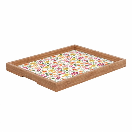 Genevieve Florals Pink Rectangle Tray