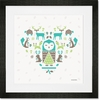 Geo Animals Owl Friends Framed Art Print