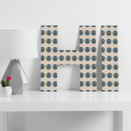Geo Owl Print Blue Decorative Letters