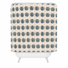 Geo Owl Print Blue Shower Curtain