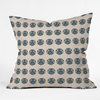 Geo Owl Print Blue Throw Pillow