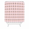 Geo Owl Print Pink Shower Curtain