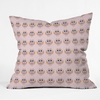 Geo Owl Print Pink Throw Pillow