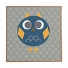 Geo Owl Solo Blue Framed Wall Art