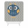 Geo Owl Solo Blue Shower Curtain