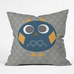 Geo Owl Solo Blue Throw Pillow