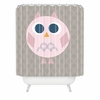 Geo Owl Solo Pink Shower Curtain
