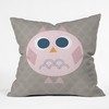 Geo Owl Solo Pink Throw Pillow