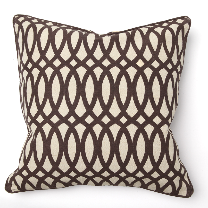 Geo Print Brown Throw Pillow by Villa Home Collection