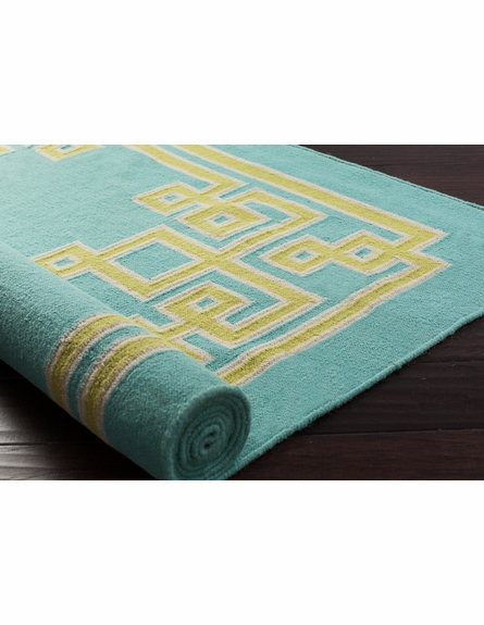 Geometric Border Alameda Rug in Aqua