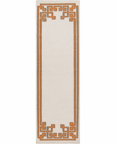 Geometric Border Alameda Rug in Beige