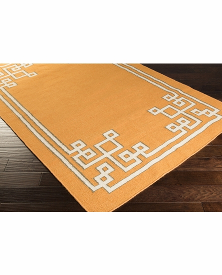 Geometric Border Alameda Rug in Burnt Orange
