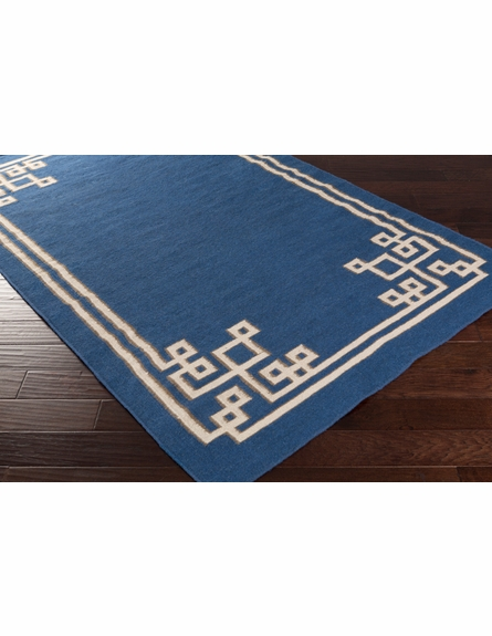 Geometric Border Alameda Rug in Cobalt