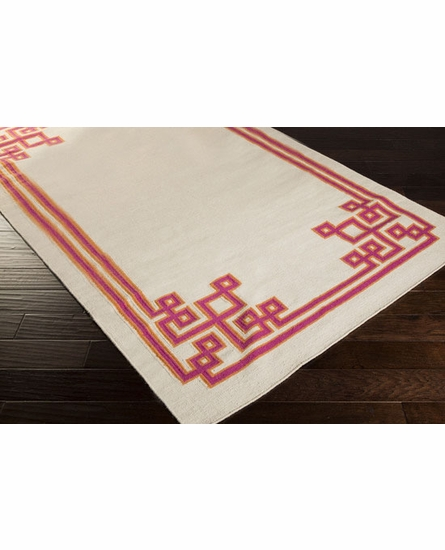 Geometric Border Alameda Rug in Ivory