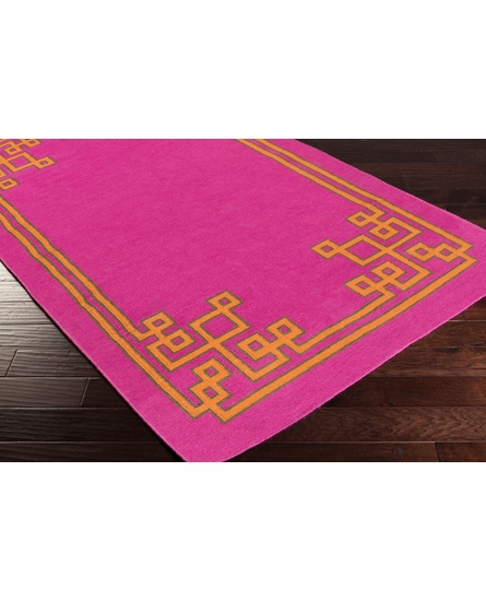 Geometric Border Alameda Rug in Magenta