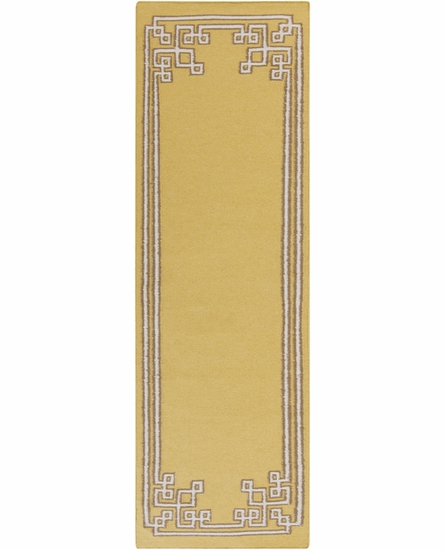 Geometric Border Alameda Rug in Olive
