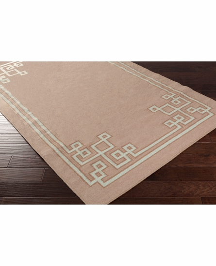 Geometric Border Alameda Rug in Taupe