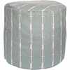 Geometric Circle Tall Pouf in Light Blue
