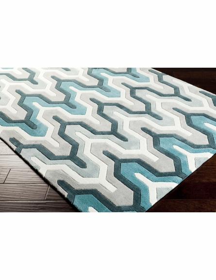 Geometric Cosmopolitan Rug in Teal