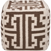 Geometric Pouf in Brown and Winter White