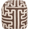 Geometric Pouf in Dark Chocolate and Parchment