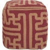 Geometric Pouf in Maroon and Brown