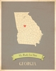Georgia My Roots State Map Art Print - Blue