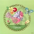 Gingham Birdies Green Canvas Reproduction