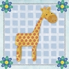 Giraffe and Blue Flowers Canvas Wall Art