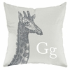 Giraffe in Warm Grey Throw Pillow