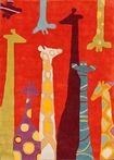 Giraffe Rug in Red