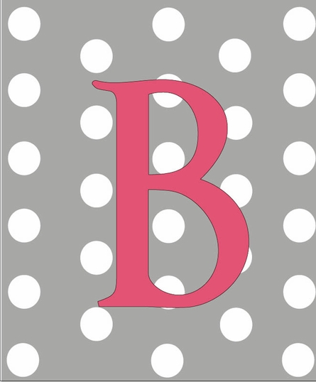 Girl Initial Personalized Dots Canvas Reproduction