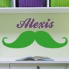Girl Mustache Personalized Wall Decal