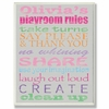 Girl's Gray Personalized Typography Playroom Rules Wall Plaque