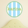 Girl Vertical Stripes Personalized Fabric Wall Decal
