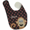 Girls Monkey Personalized Bib