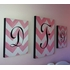 Girls Personalized Chevron Stretched Canvas Art - Pink on Pink