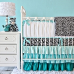 Girly Aqua Leopard Crib Bedding Set