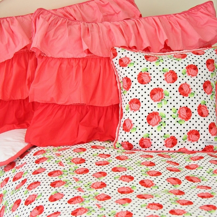 Girly Coral Rose Duvet Cover