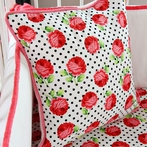 Girly Coral Rose Square Throw Pillow