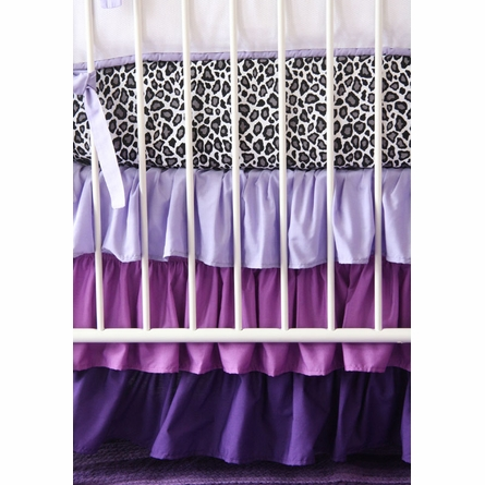 Girly Purple Leopard Ruffle Crib Bedding Set