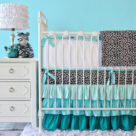 Girly Silver Leopard Crib Sheet