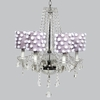 Glass 6 Light Middleton Chandelier With Lavender Drum Shades And White Pom Poms