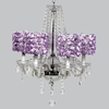 Glass 6 Light Middleton Chandelier With Lavender Rose Garden Drum Shades